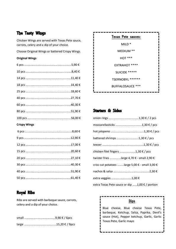 Siipiravintola Lahti menu 2/2
