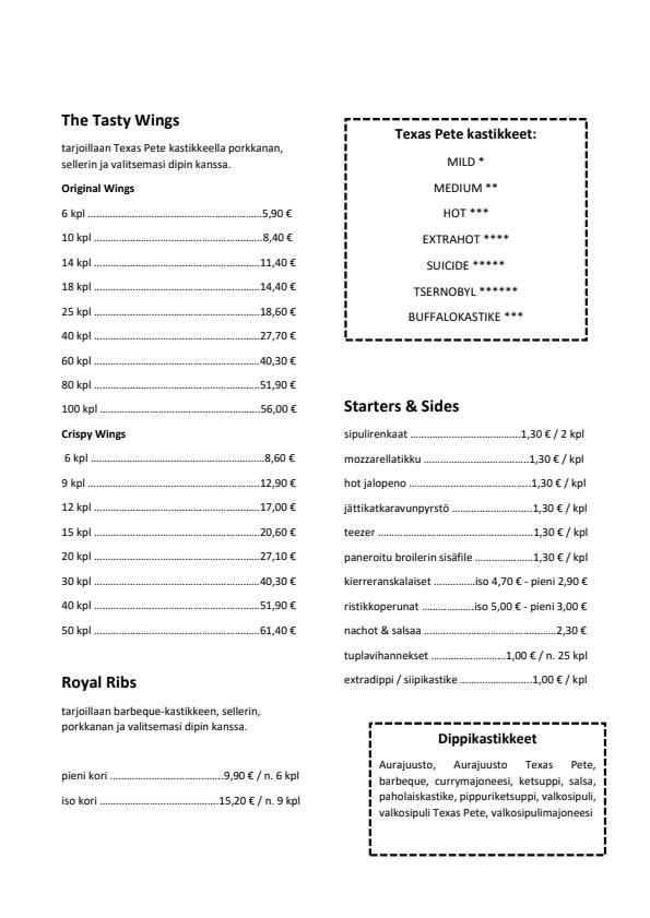 Siipiravintola Lahti menu 1/2