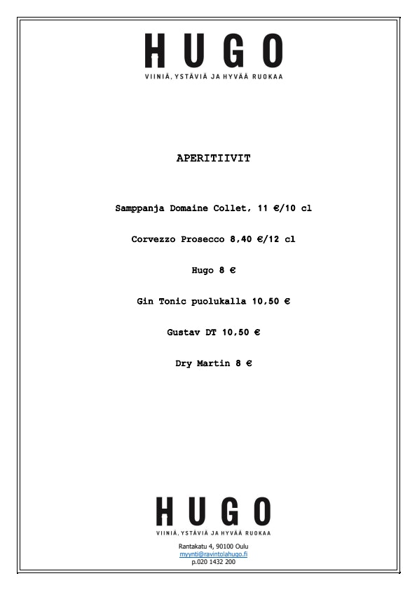 Ravintola Hugo menu 1/2