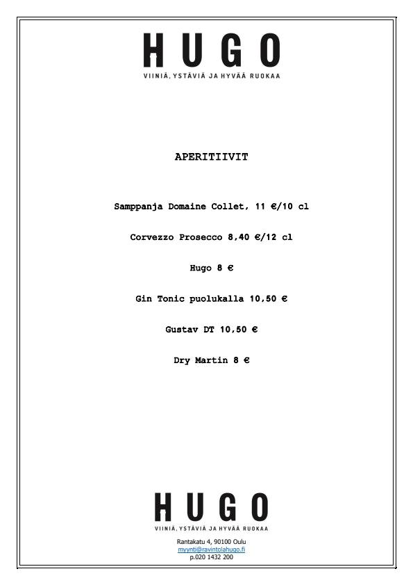 Ravintola Hugo menu 2/2