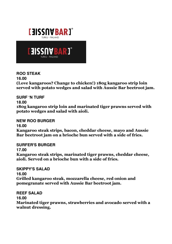 Aussie Bar Turku menu 1/7