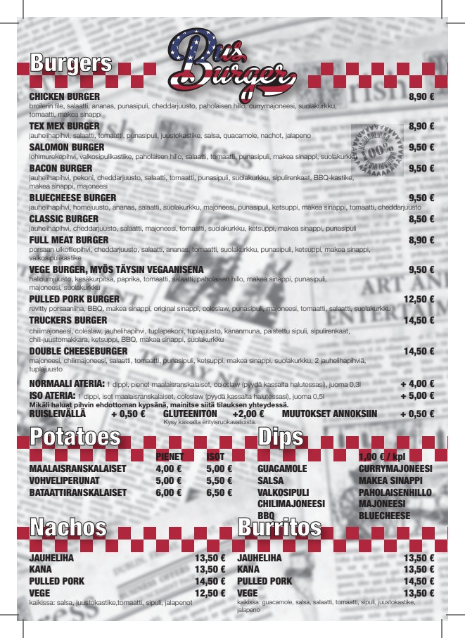 Bus Burger Salpakangas menu 2/2
