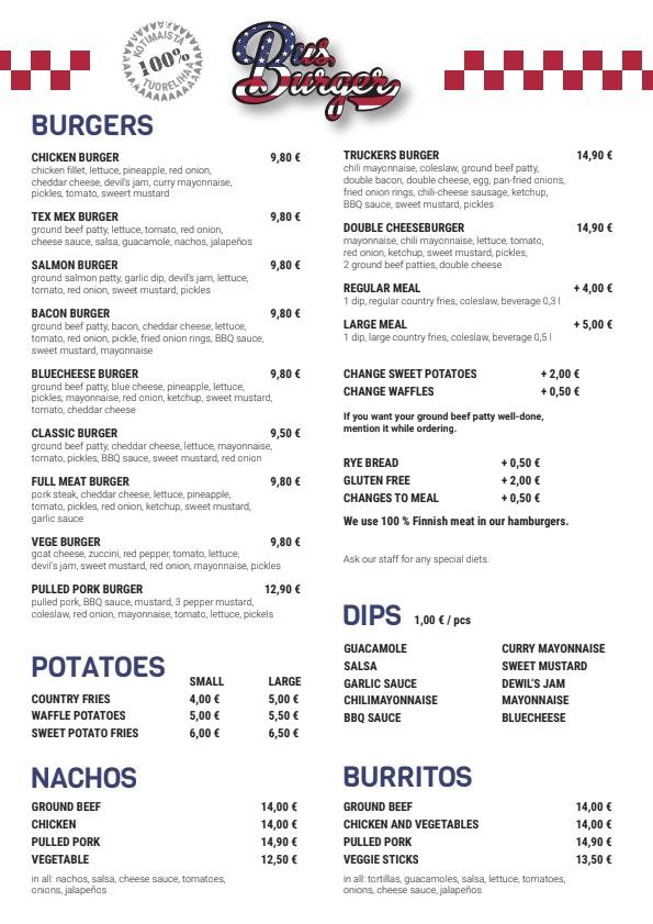 Bus Burger Salpakangas menu 2/2