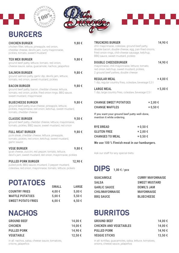 Bus Burger Salpakangas menu 1/2