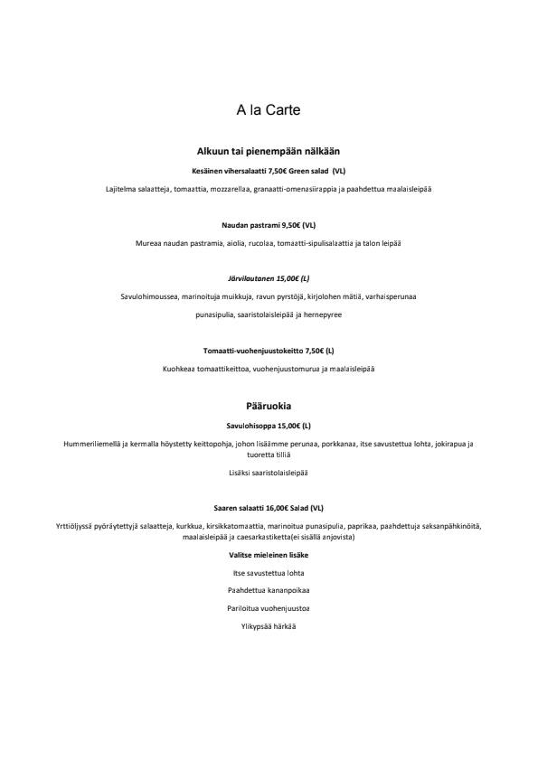 Myllysaaren Kommodori menu 2/3