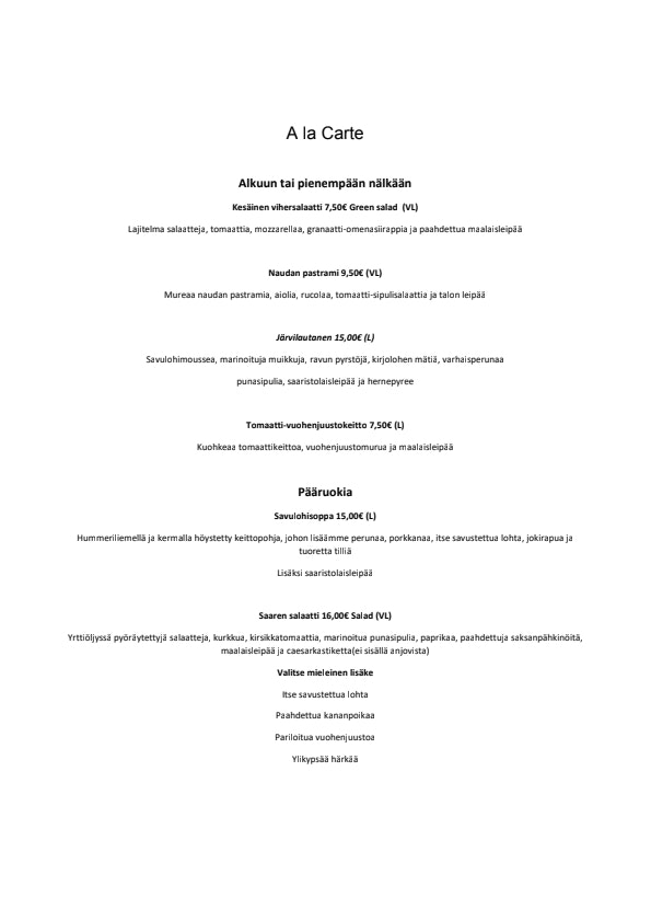 Myllysaaren Kommodori menu 3/3