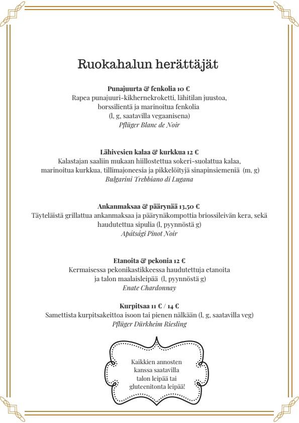 Ravintola Myllärit menu 1/4