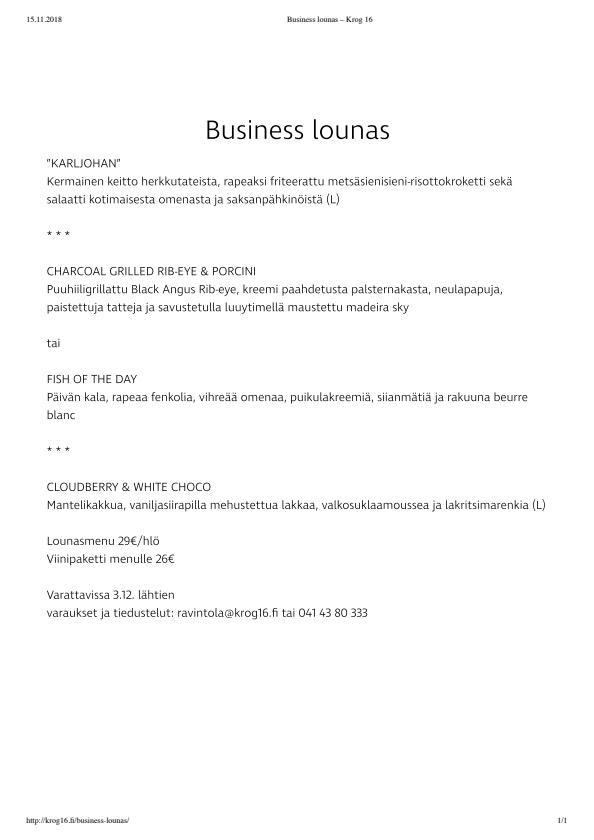 Krog 16 menu 1/1