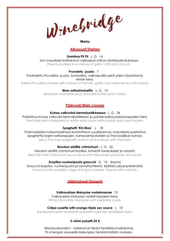Winebridge menu 1/1