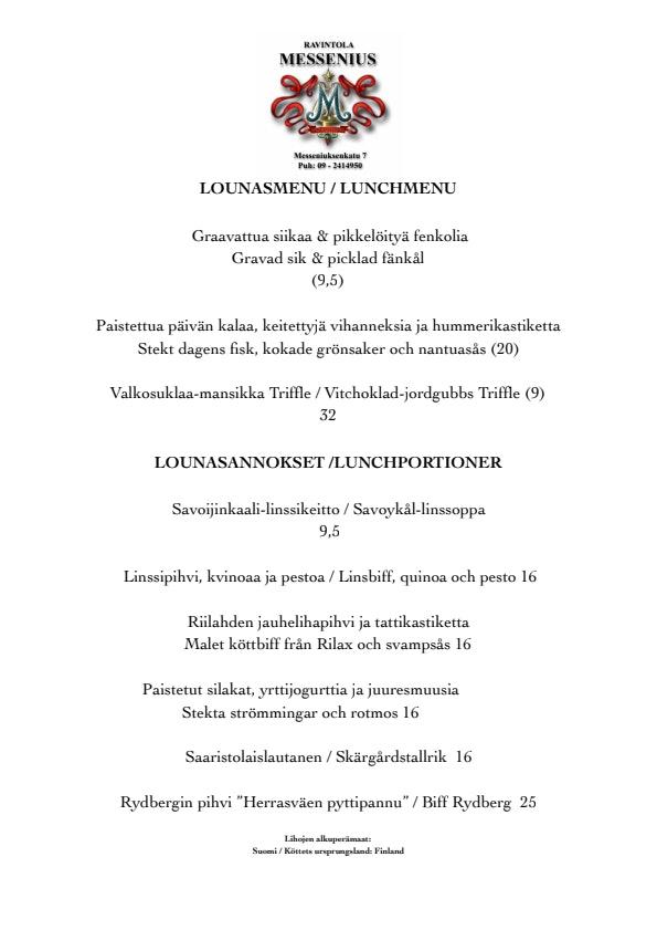 Ravintola Messenius menu 2/5