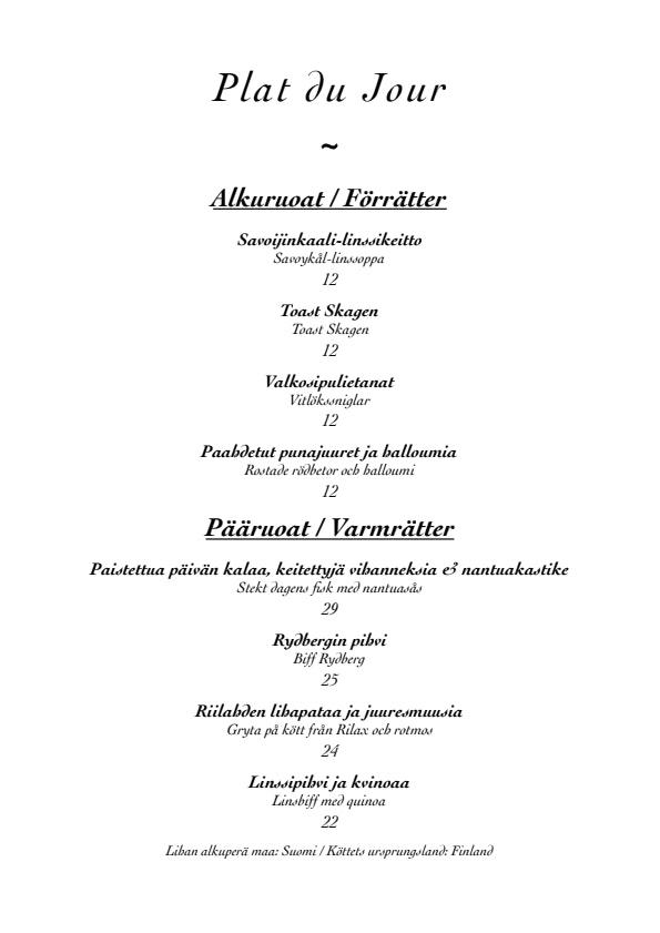 Ravintola Messenius menu 1/5