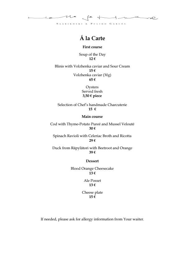 Hella & Huone menu 2/2