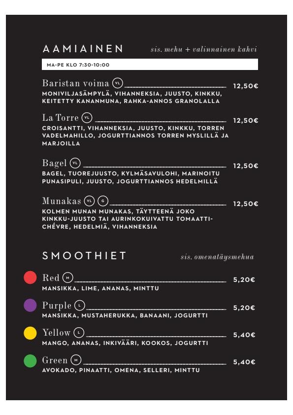 La Torrefazione Aleksanterinkatu menu 1/1