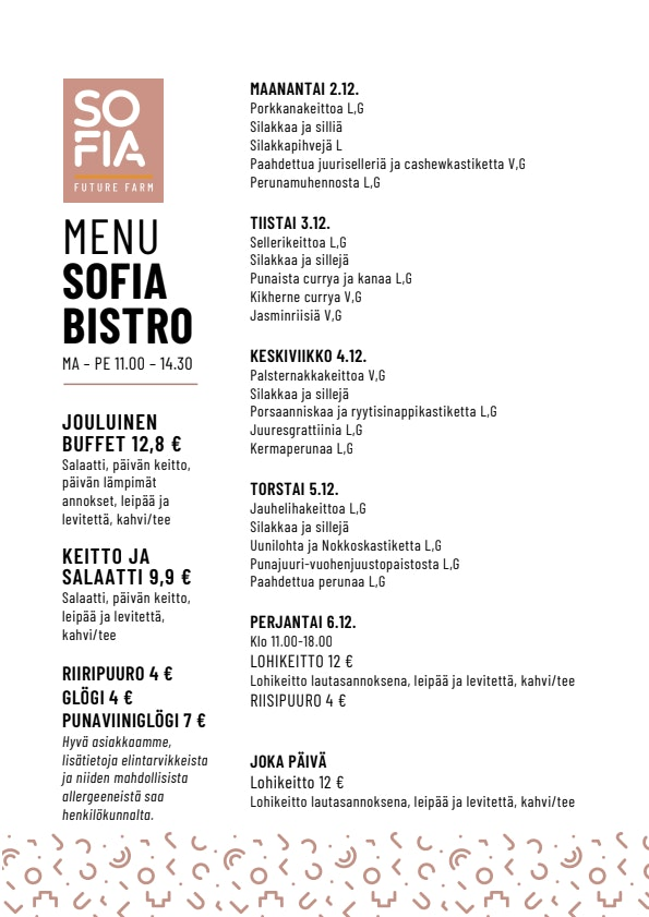 Sofia Bistro menu 1/1