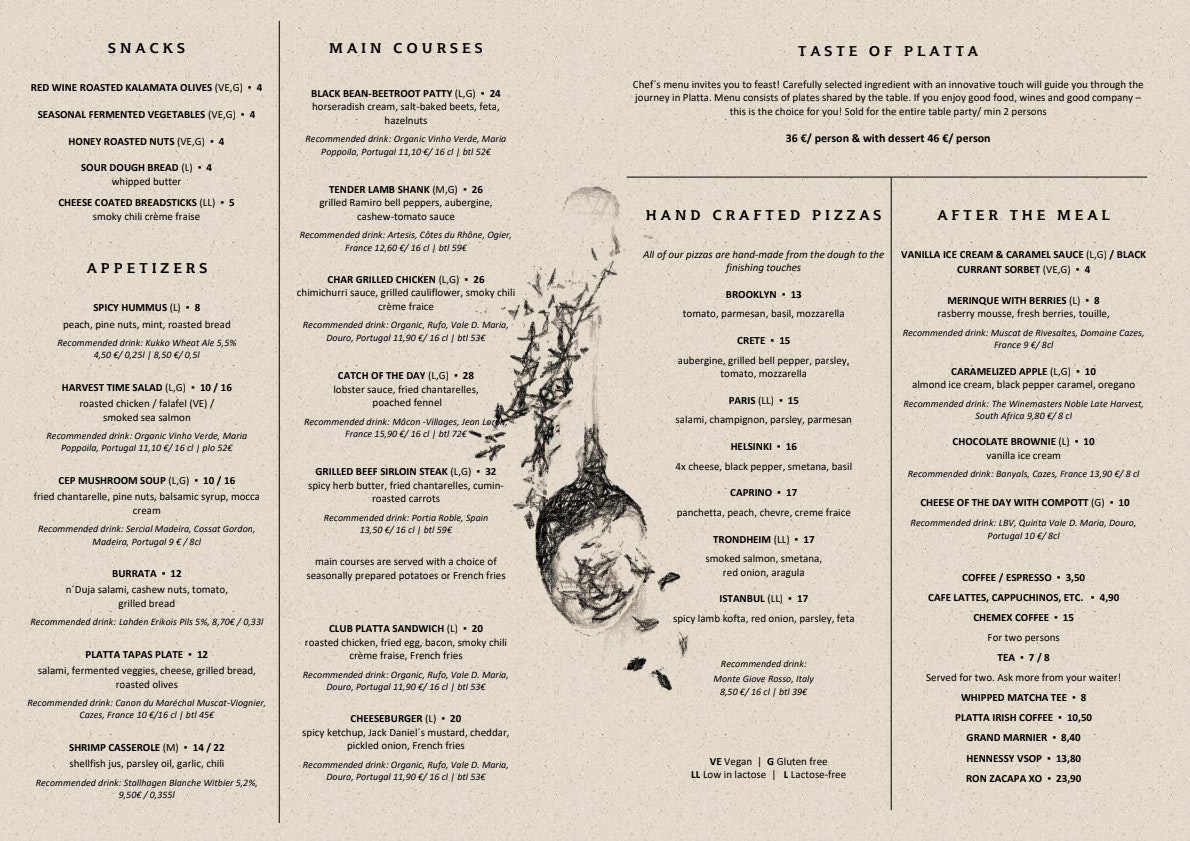 Platta menu 1/1