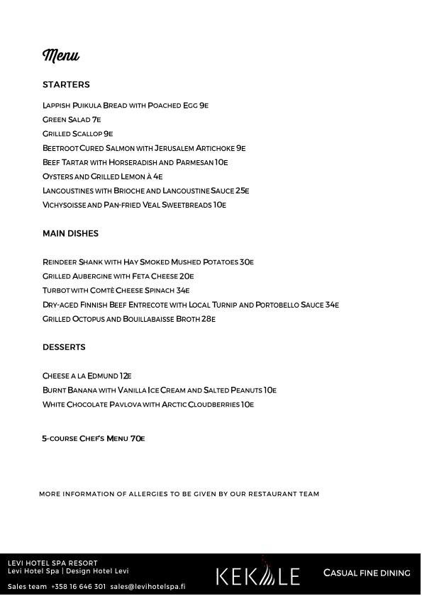 Kekäle Bar & Grill menu 1/5