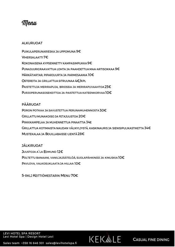 Kekäle Bar & Grill menu 4/5