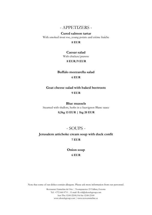 Emmeline & Otto menu 2/2