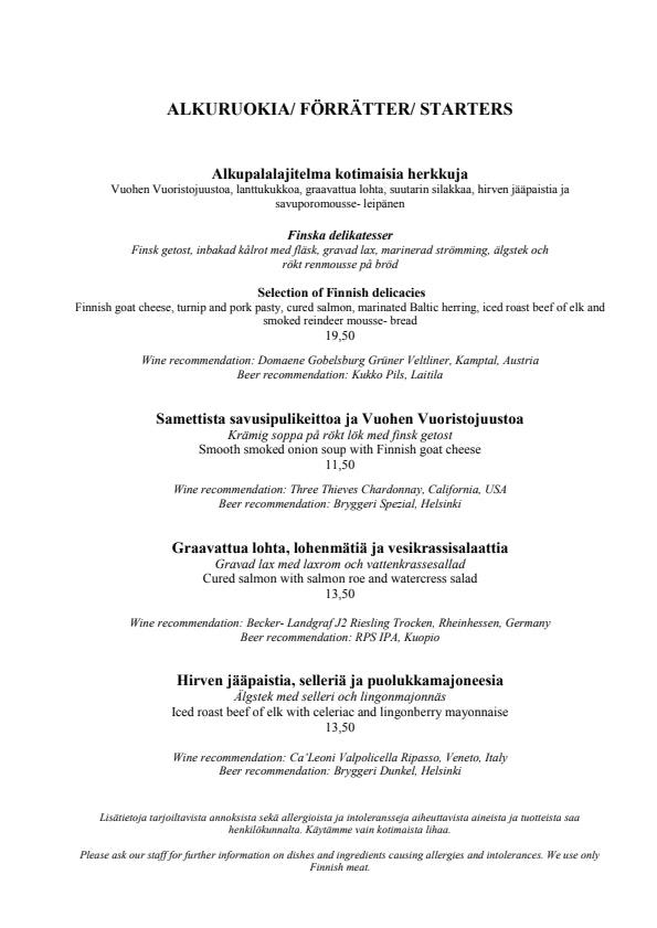 Ravintola Aino menu 1/4