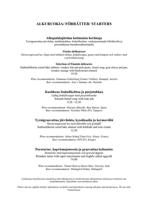 Ravintola Aino menu 3/4