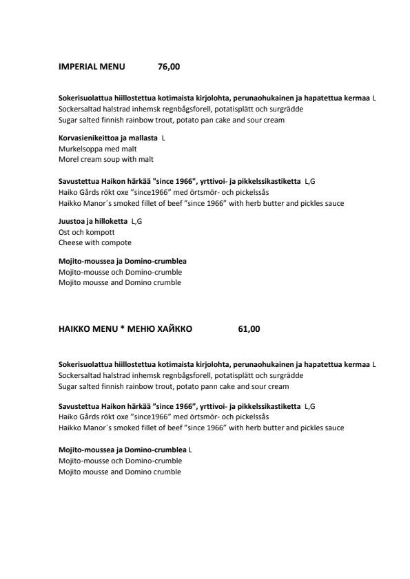 Haikon Kartano menu 1/5