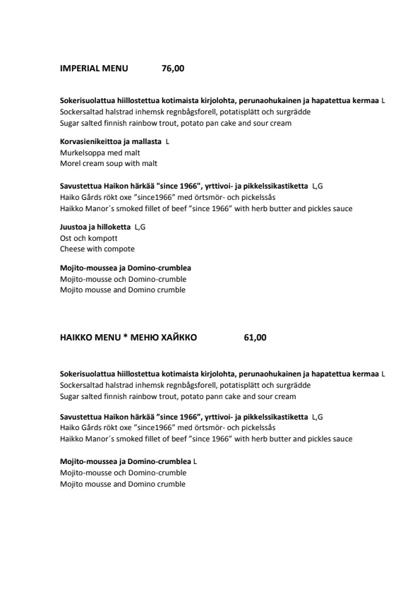 Haikon Kartano menu 2/5