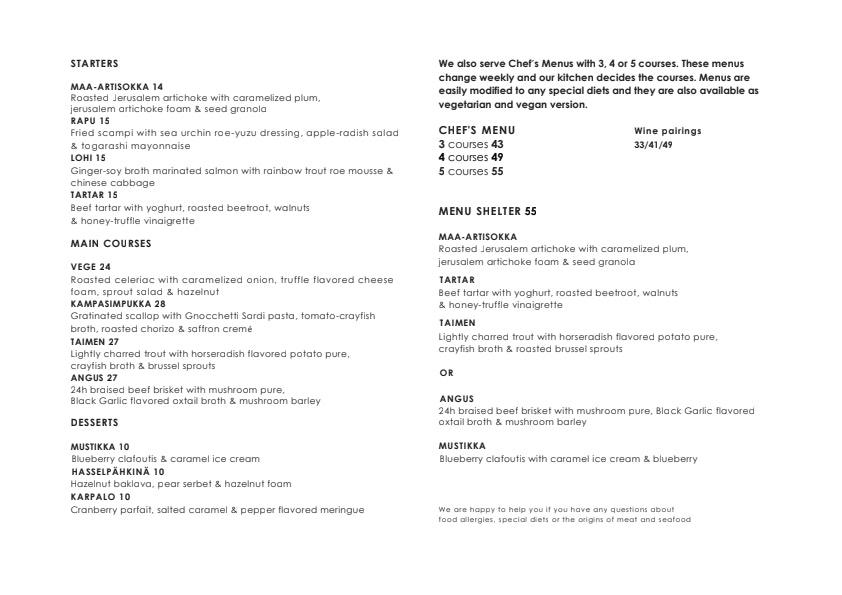 Shelter menu 1/1