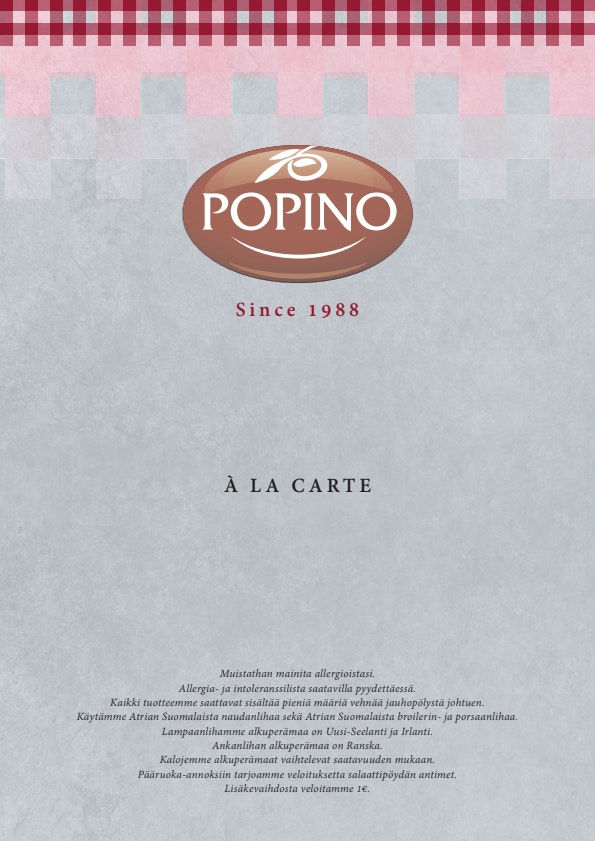 Ravintola Popino menu 10/10