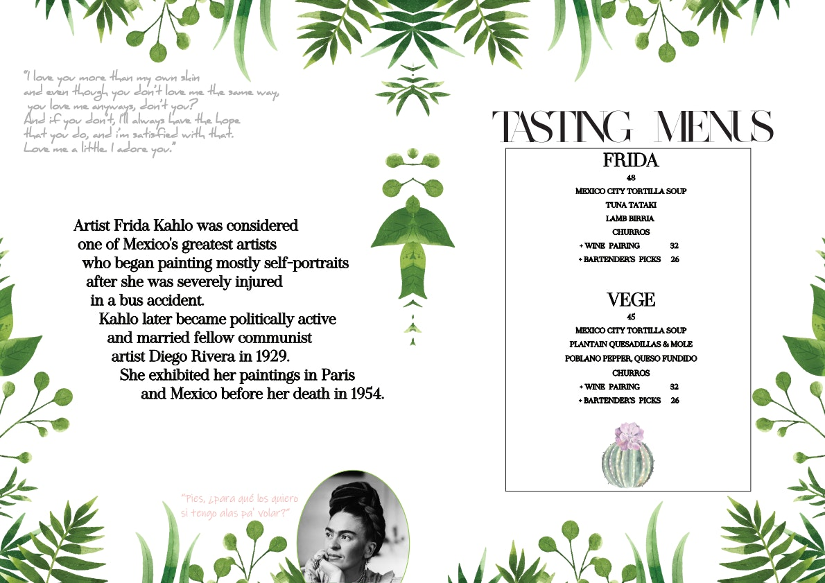 Frida's menu 1/2