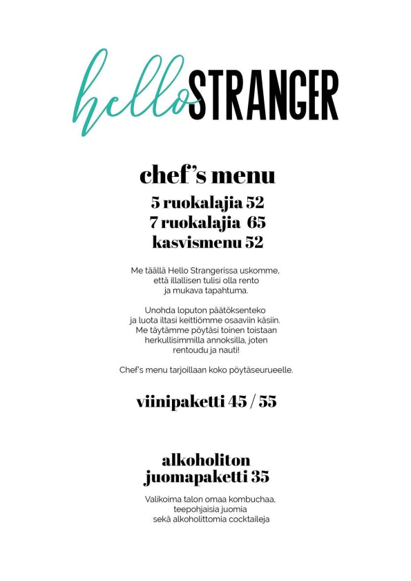 Hello Stranger menu 1/1