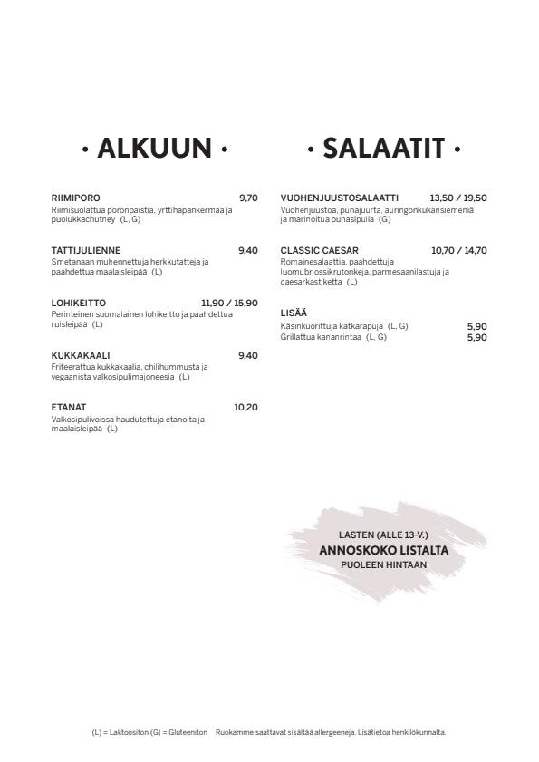 Ravintola Bord menu 1/3