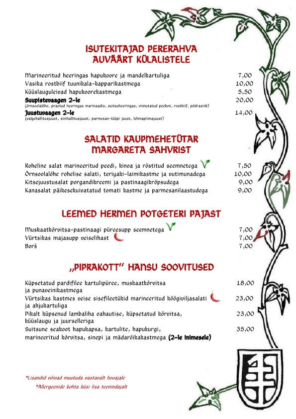 Peppersack menu 1/2