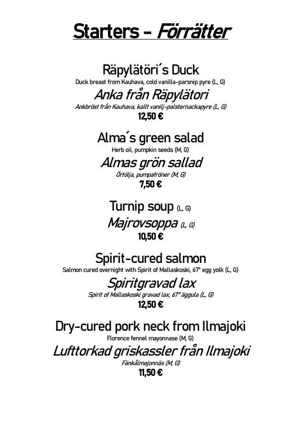 Ravintola Alma menu 2/6
