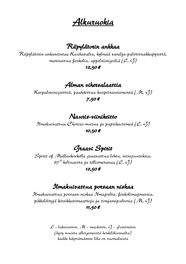 Ravintola Alma menu 1/6