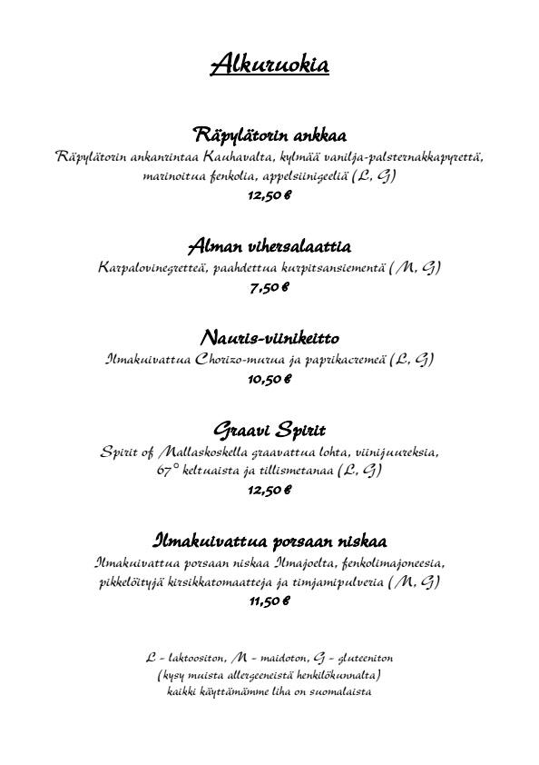 Ravintola Alma menu 3/6