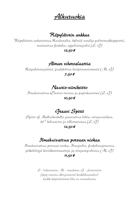 Ravintola Alma menu 6/6