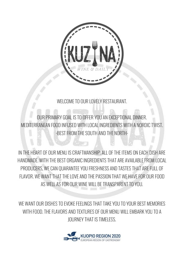 Kuzina Wine & Daily menu 3/6