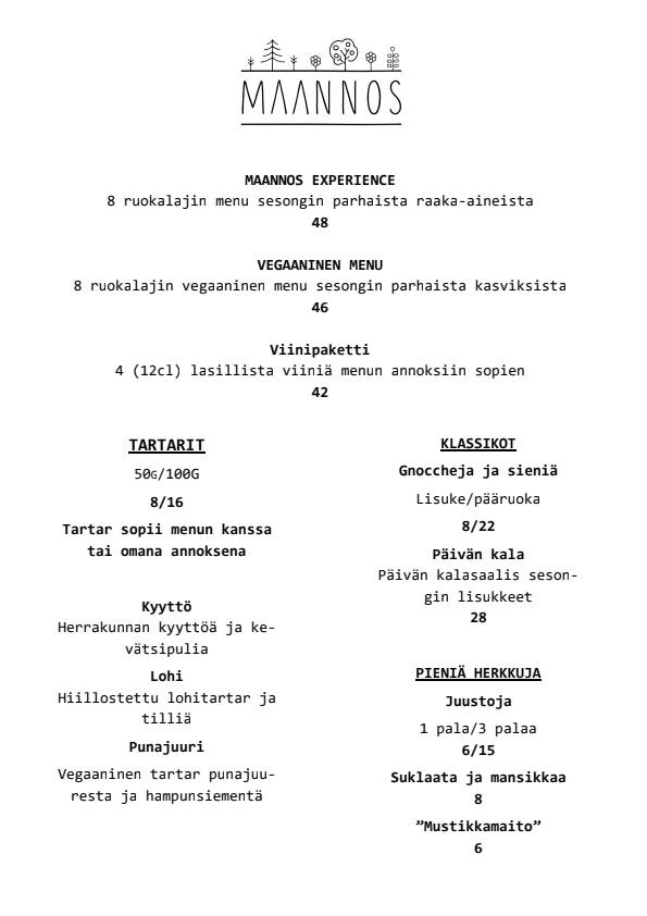 Maannos menu 1/2