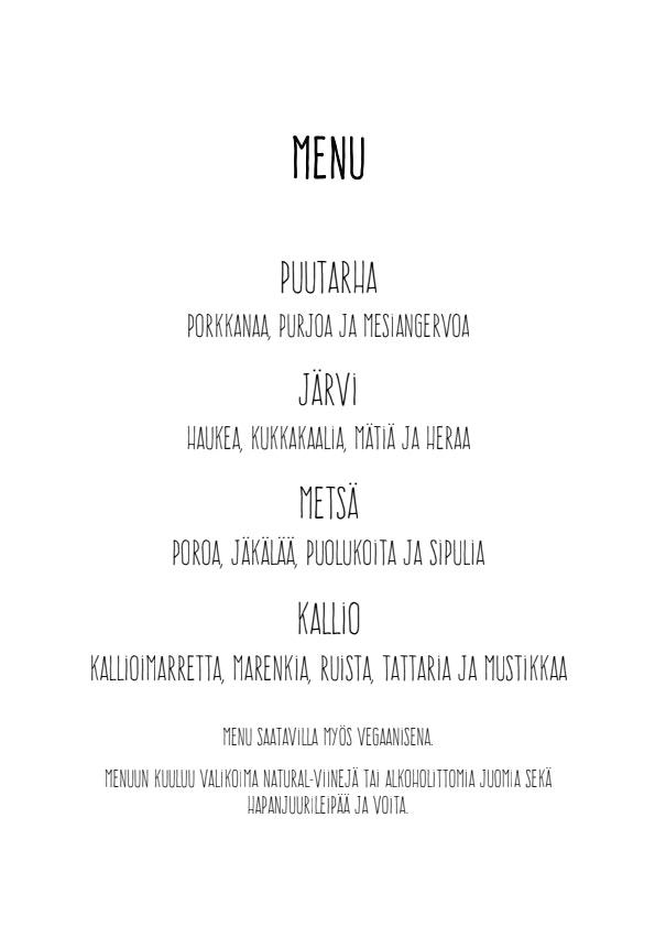 Nielu pop up illalliset menu 1/1