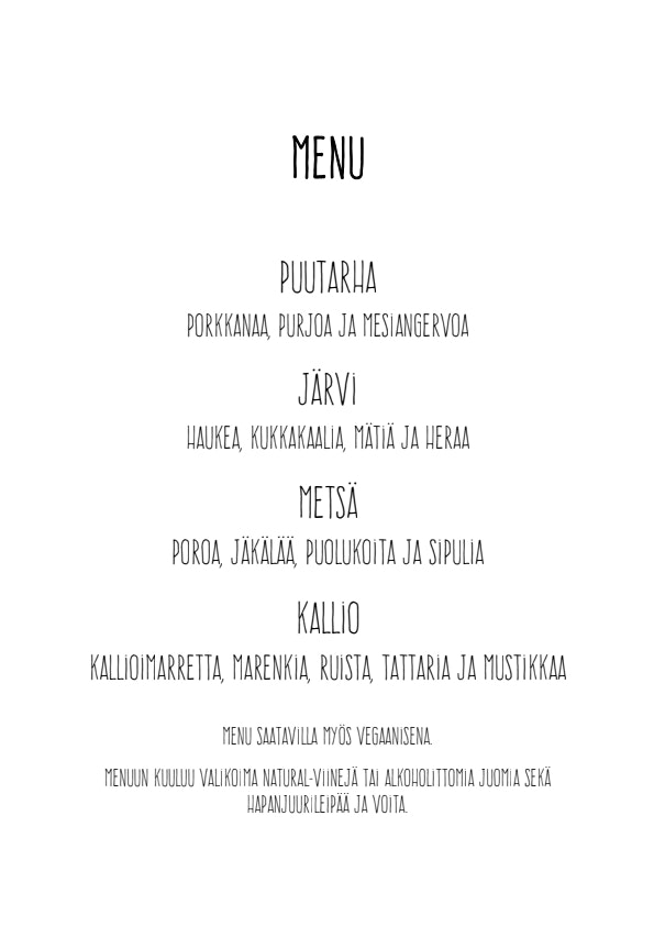 Nielu pop up illalliset menu 1/1