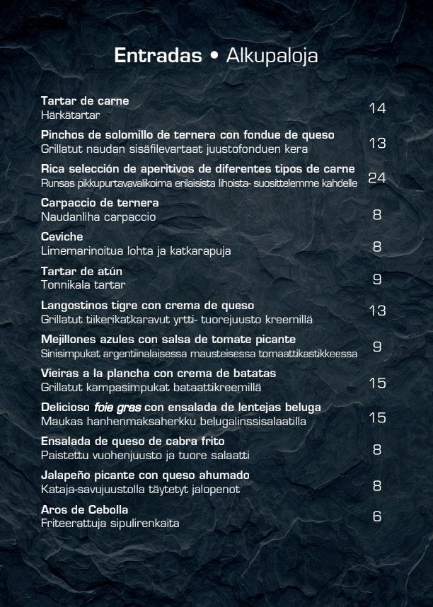 Argentiina restoran (Lootsi tn 8) menu 4/12